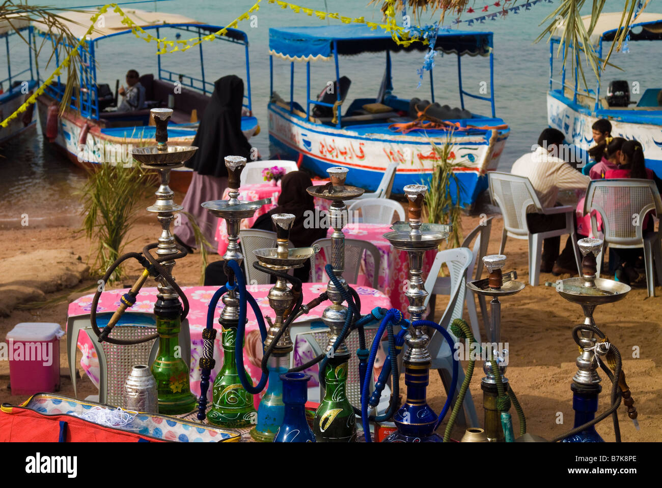 Water pipes at Aqaba beach JORDAN - Stock Image