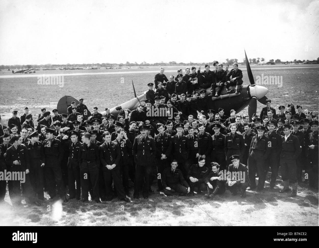 HURRICANE Unidentified RAF Hurricane squadron about 1940 - Stock Image
