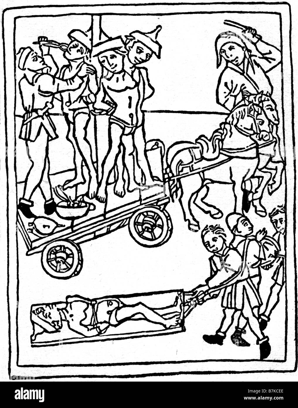 SPANISH INQUISITION 1475 woodcut showing Jews being tortured ay the Inquisiion in Granada following accusation of - Stock Image