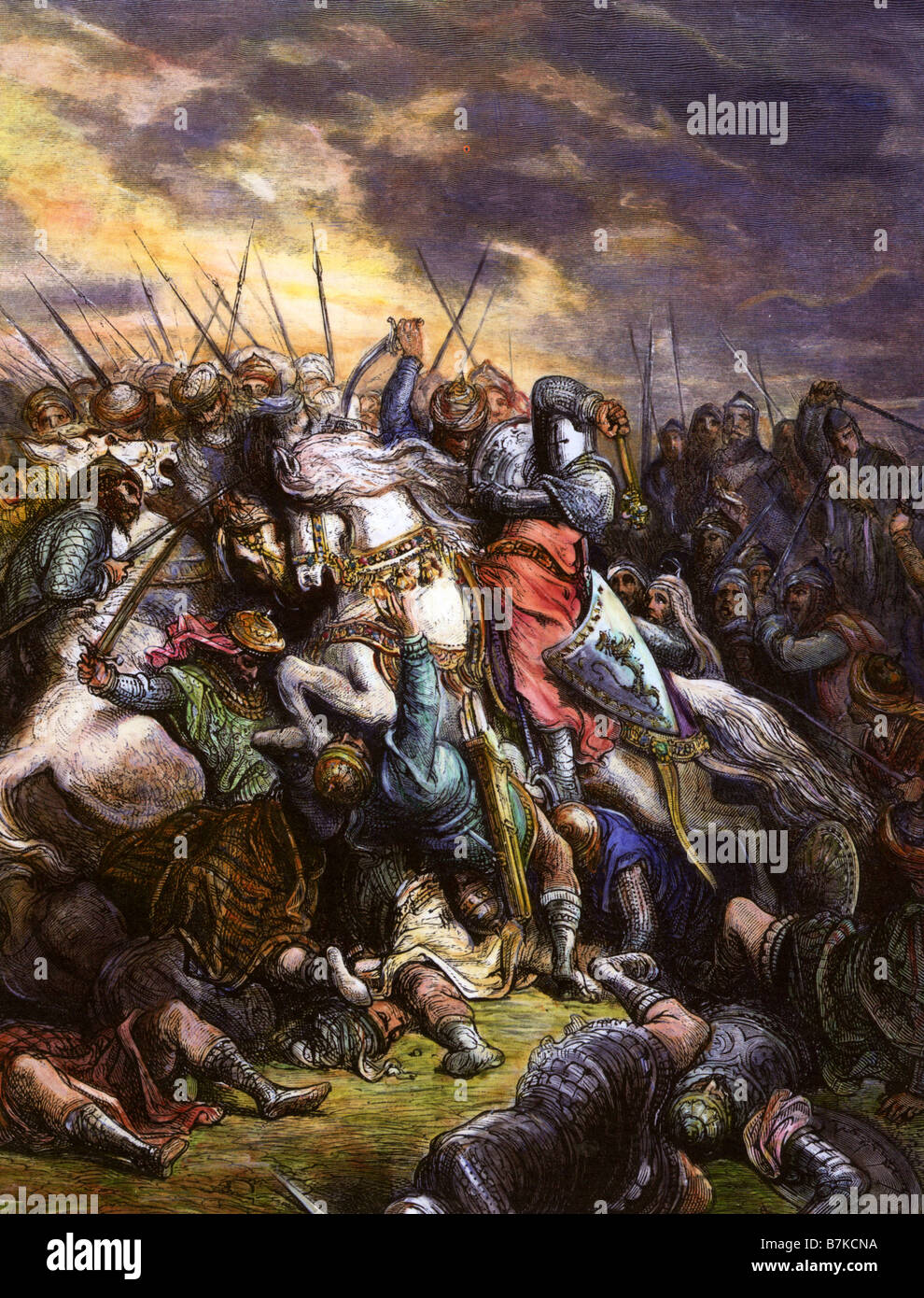 RICHARD I Richard the Lionheart leads the Crusaders against Saladin's Muslim army  at the Battle of Arsuf in - Stock Image