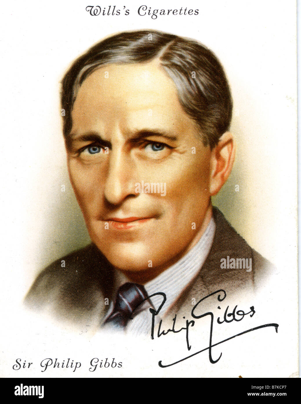 PHILLIP GIBBS  English writer show on a 1930s cigarette card - Stock Image