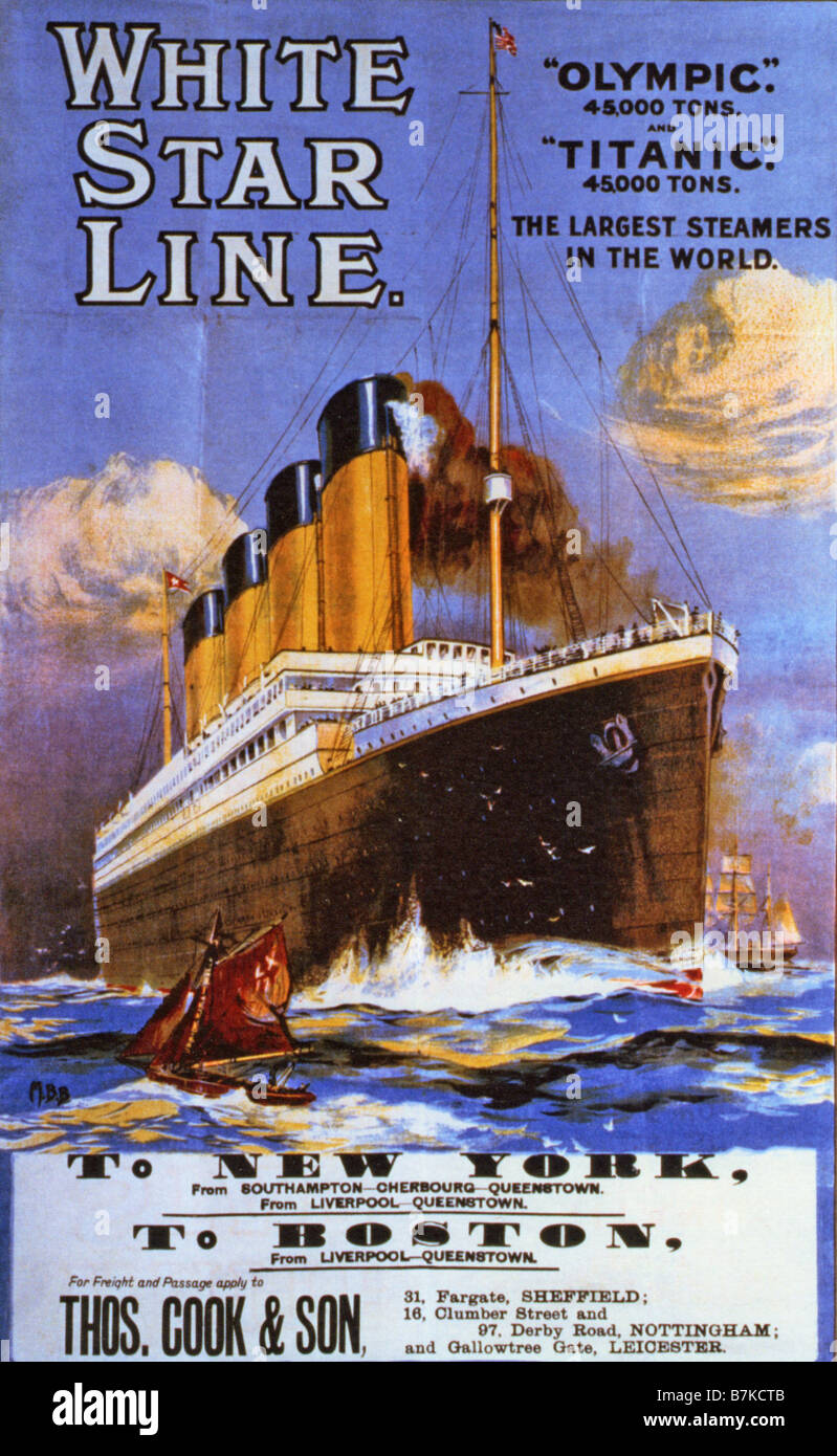 WHITE STAR LINE shipping line advert about 1911 promoting the Titanic - Stock Image