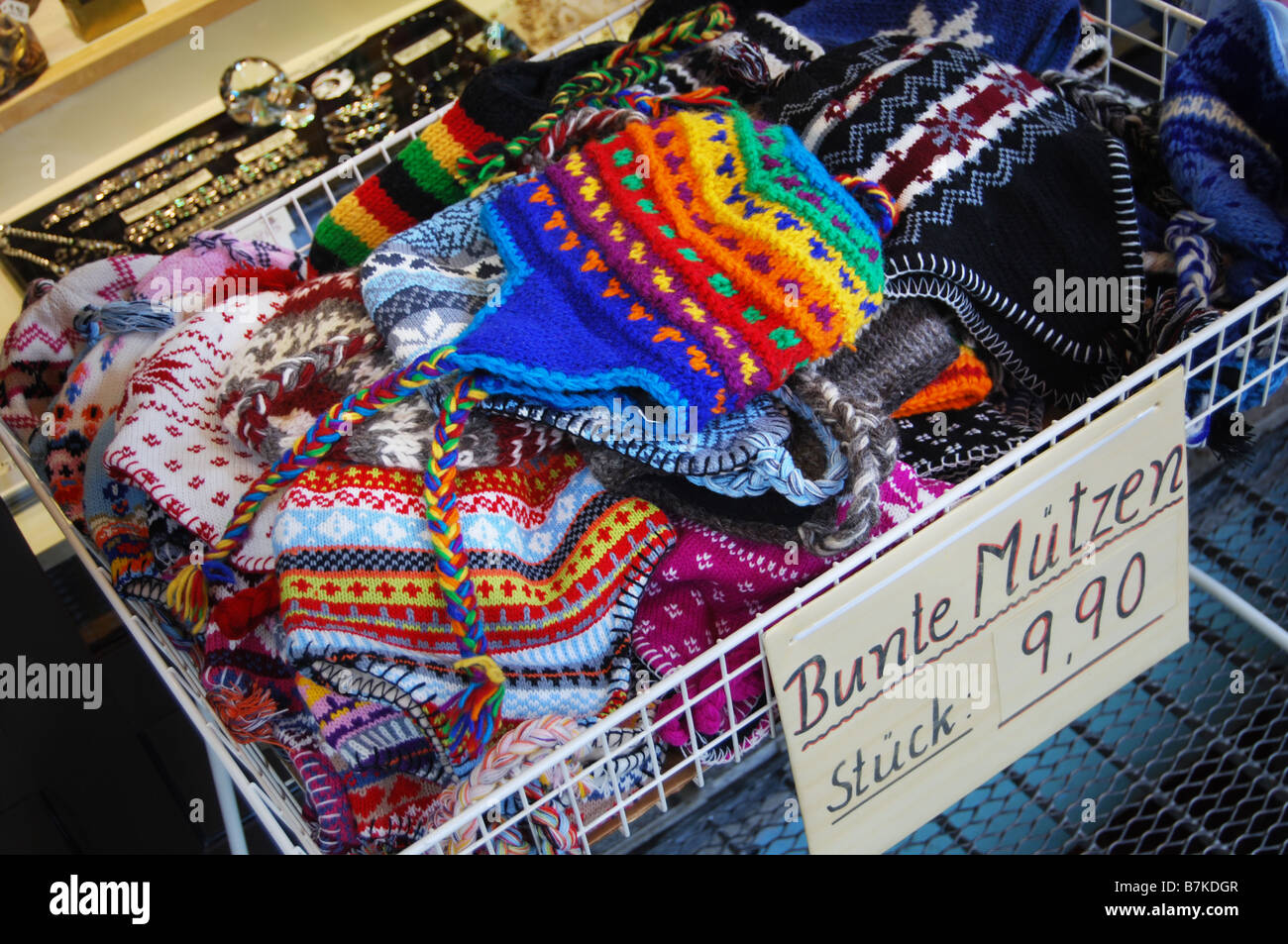 0bf0107e8 colourful ski hats for sale in Mayrhofen Austria Stock Photo ...