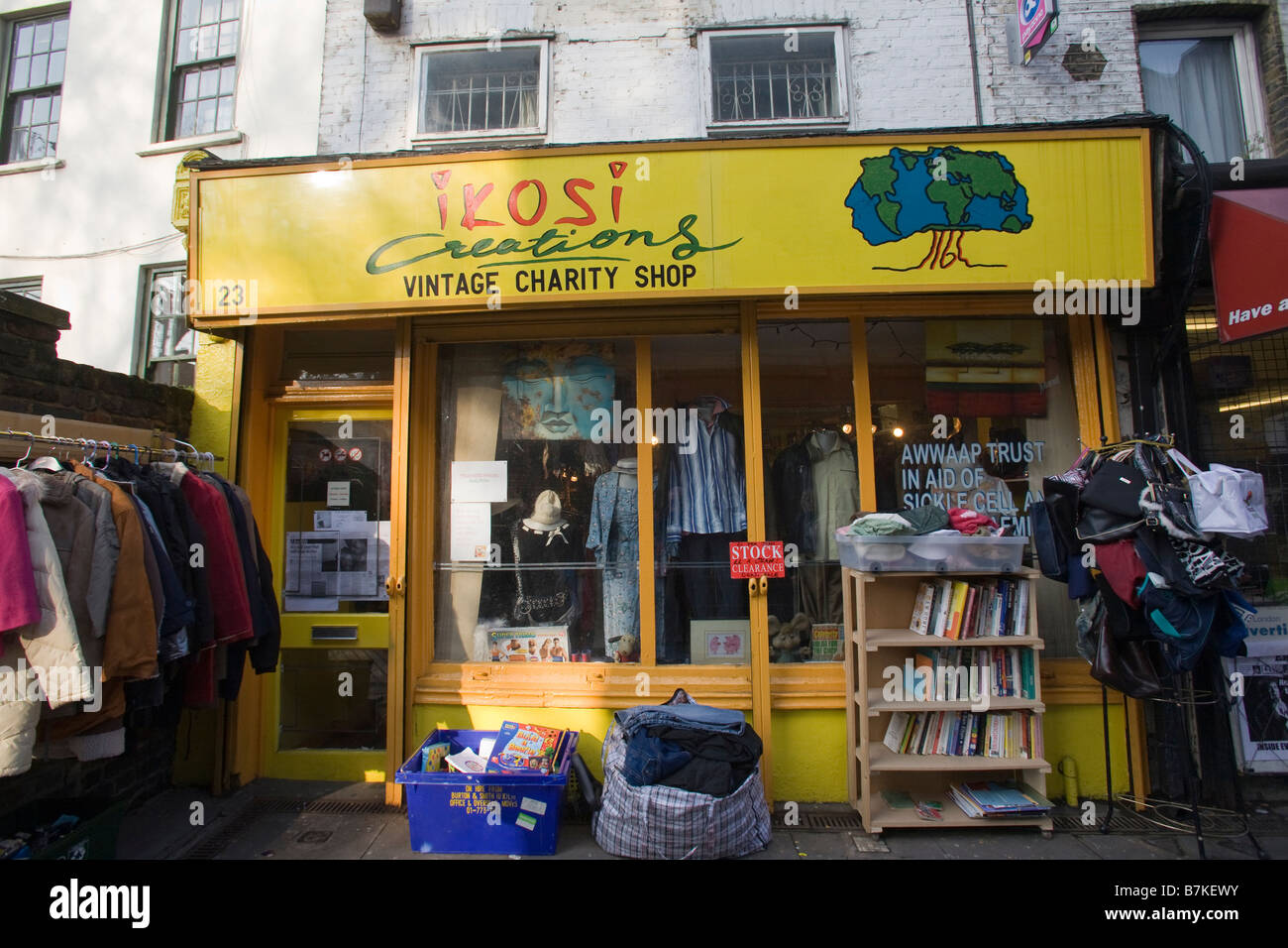 Vintage Charity Shop, Ikosi Creations, Old Ford Road, Bethnal Green, Tower Hamlets London GB UK - Stock Image