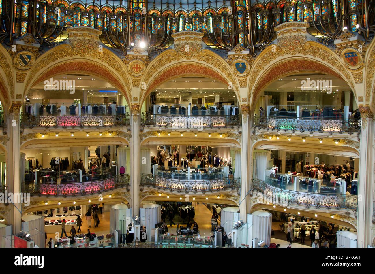 Galeries Lafayette department store Paris France - Stock Image