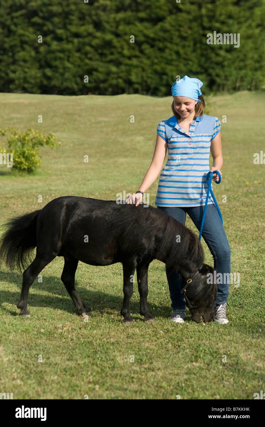 Miniature horse running - Stock Image