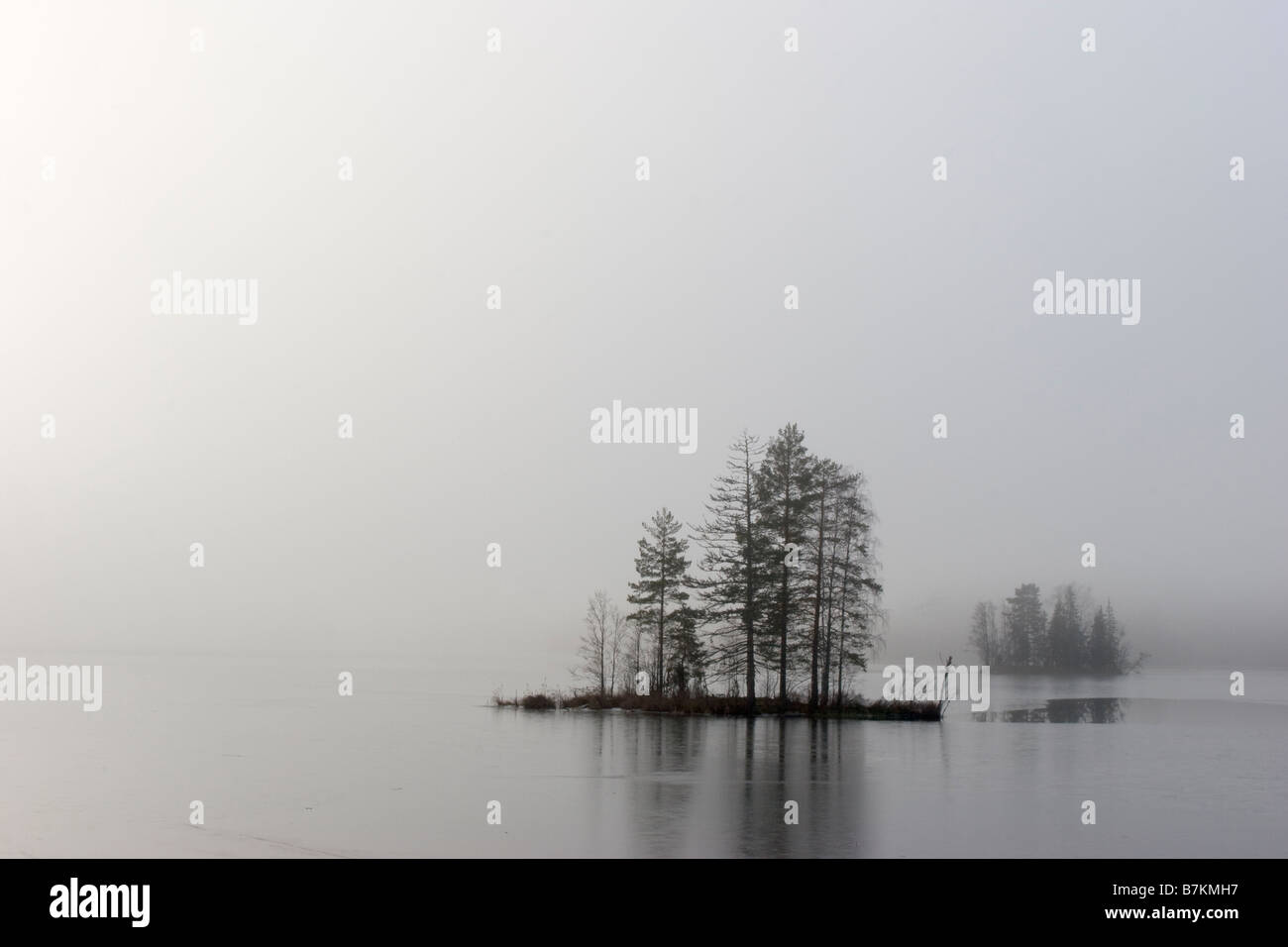 Lake and mist - Stock Image