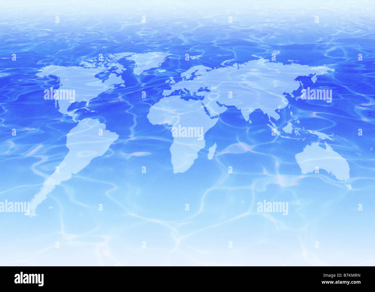 Water surface and world map - Stock Image