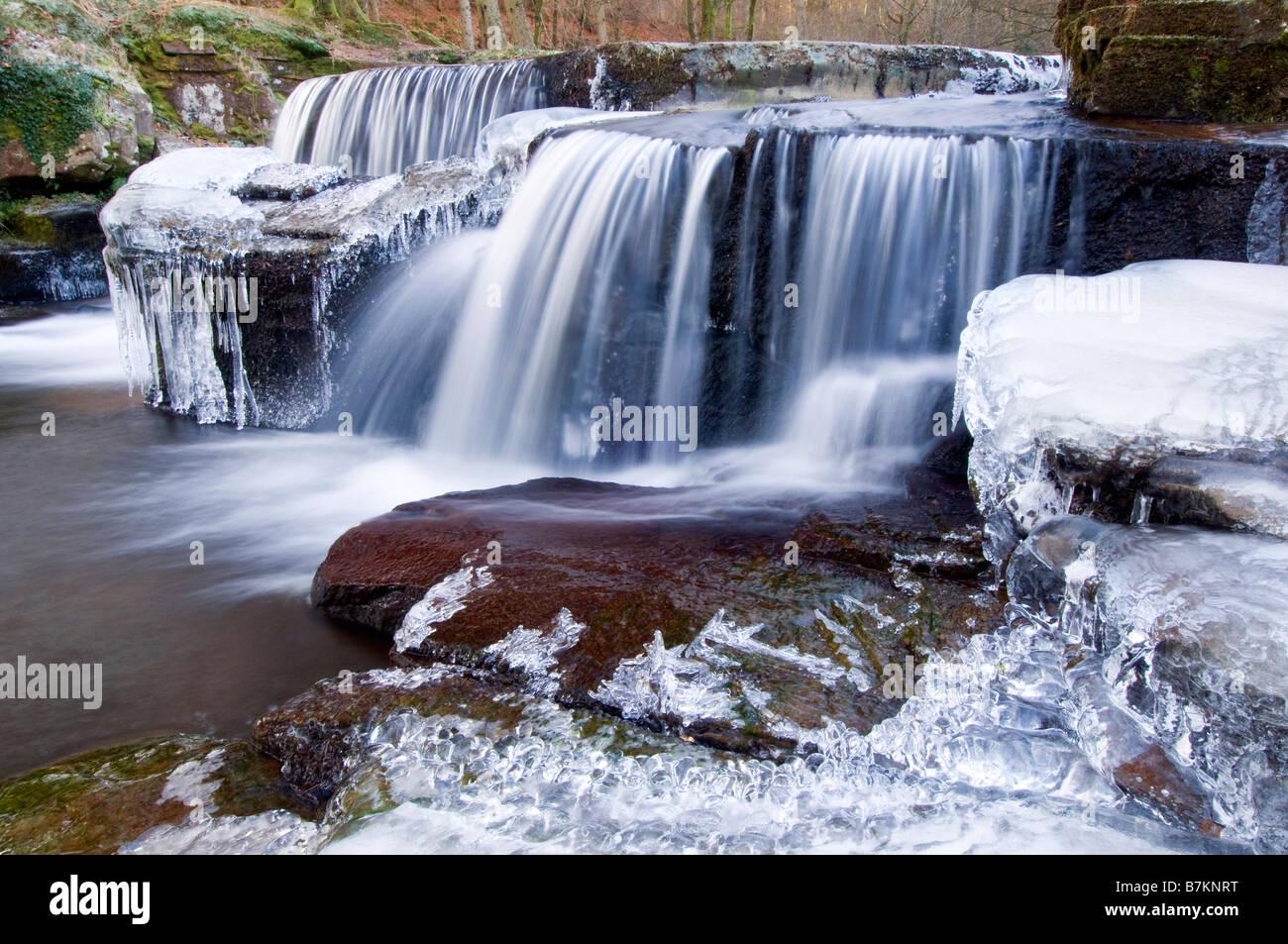 Waterfall on the Taf Fechan in winter. Stock Photo