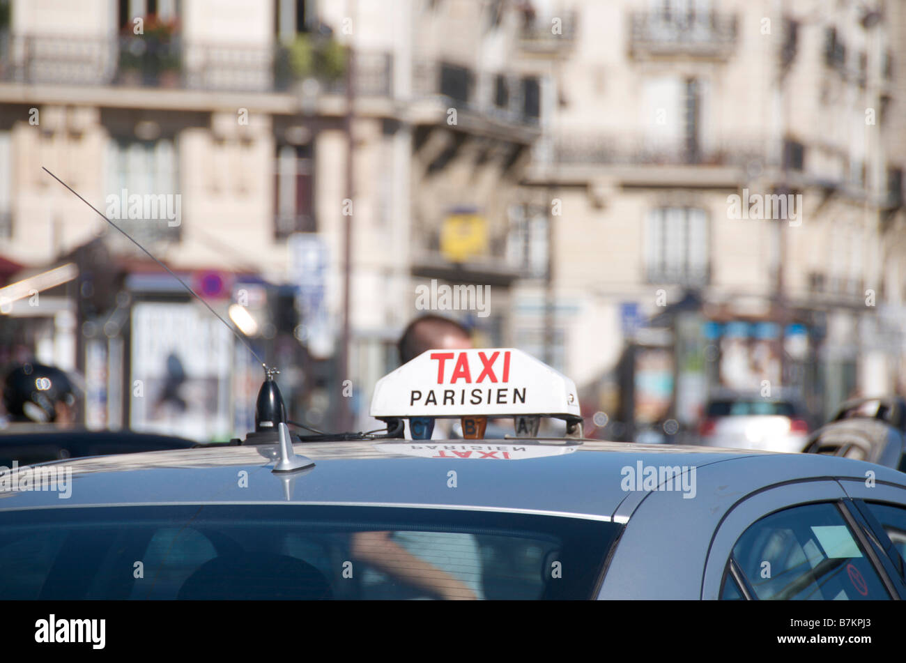 Taxi in Paris, France - Stock Image