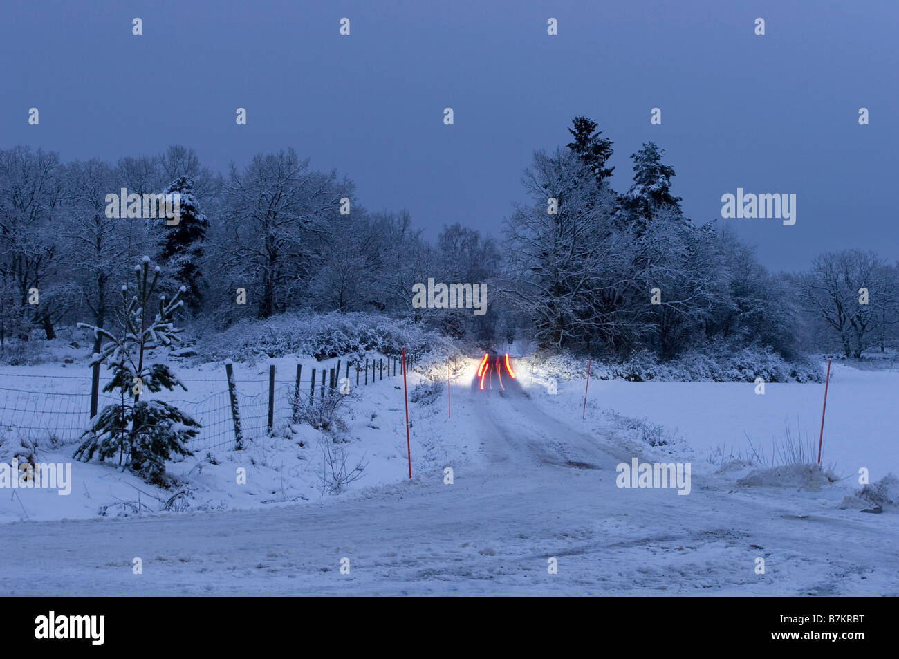 Car on winter road - Stock Image