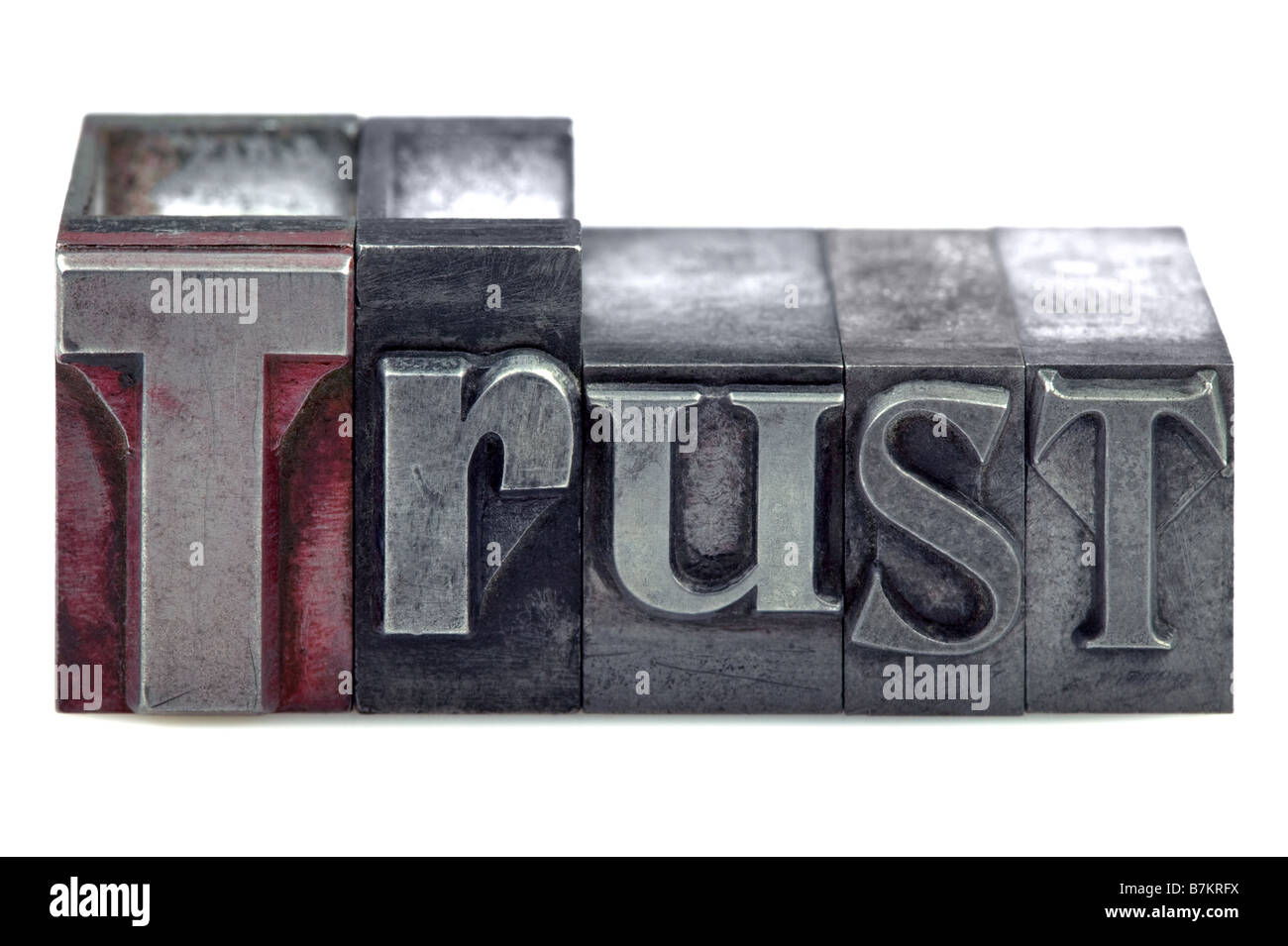 The word Trust in old letterpress printing blocks isolated on a white background - Stock Image