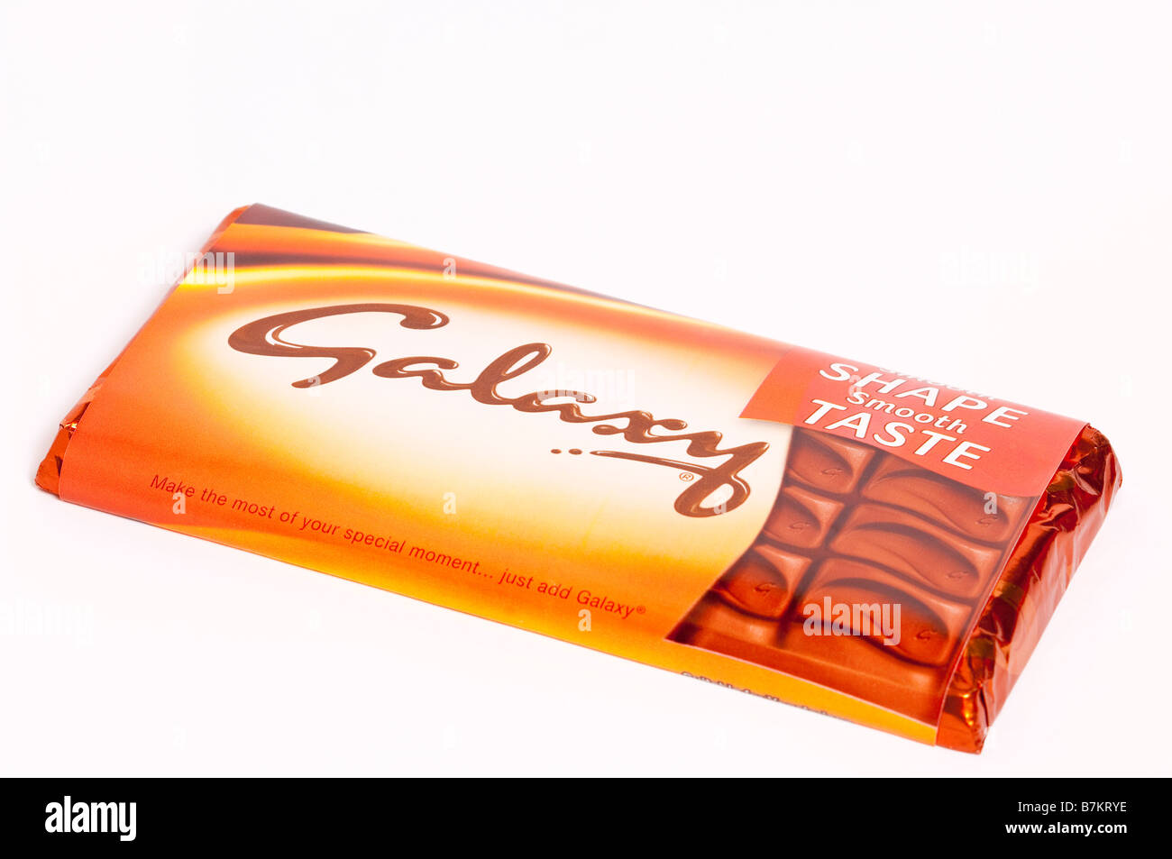 A Close Up Of A Bar Of Galaxy Milk Chocolate On A White