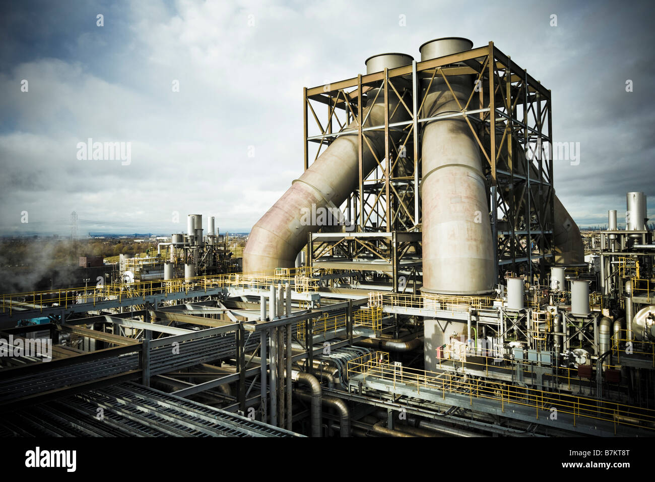 Power Station, UK - View over the chimneys and flues at a modern gas-fired power plant, GDF power station, Teesside, Stock Photo