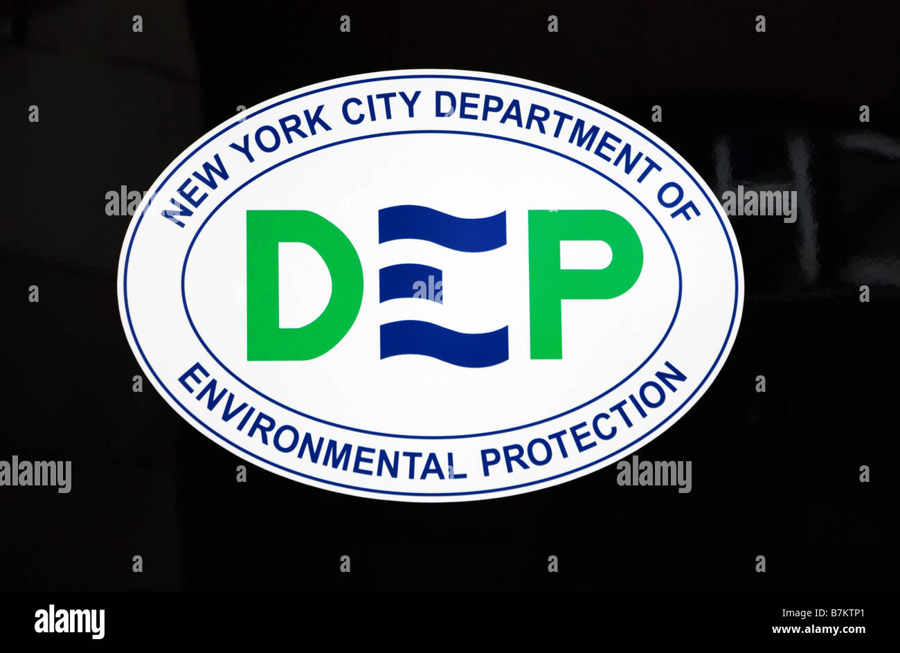 New York City Department of Environmental Protection logo on its vehicle - Stock Image