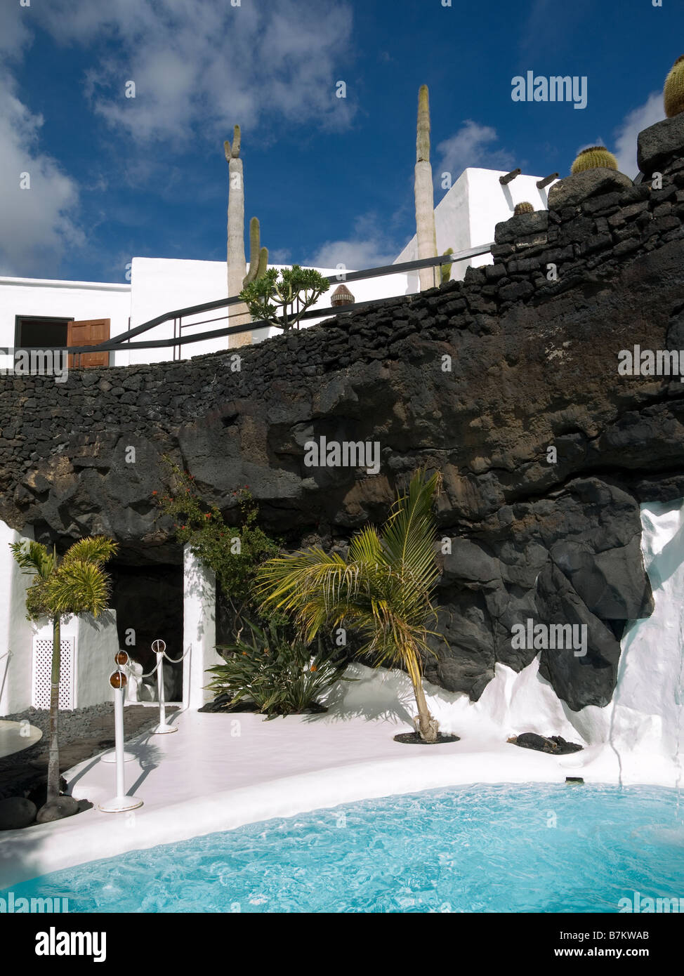 The swimming pool area in a volcanic bubble at the Cesar Manrique ...