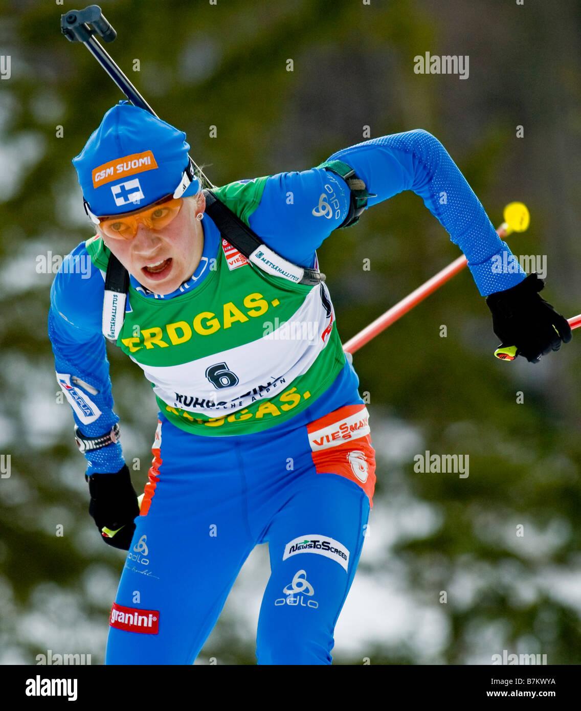MÄKÄRÄINEN Kaisa Finnland Biathlon Weltcup Verfolgung Frauen M nner Ruhpolding 18 1 2009 - Stock Image
