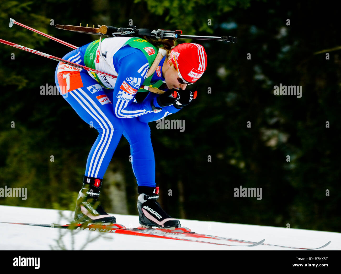 IOURIEVA Ekaterina Russland Biathlon Weltcup Verfolgung Frauen M nner Ruhpolding 18 1 2009 - Stock Image