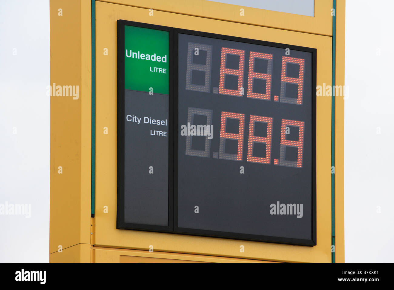 Petrol and Diesel Prices Sign - Stock Image