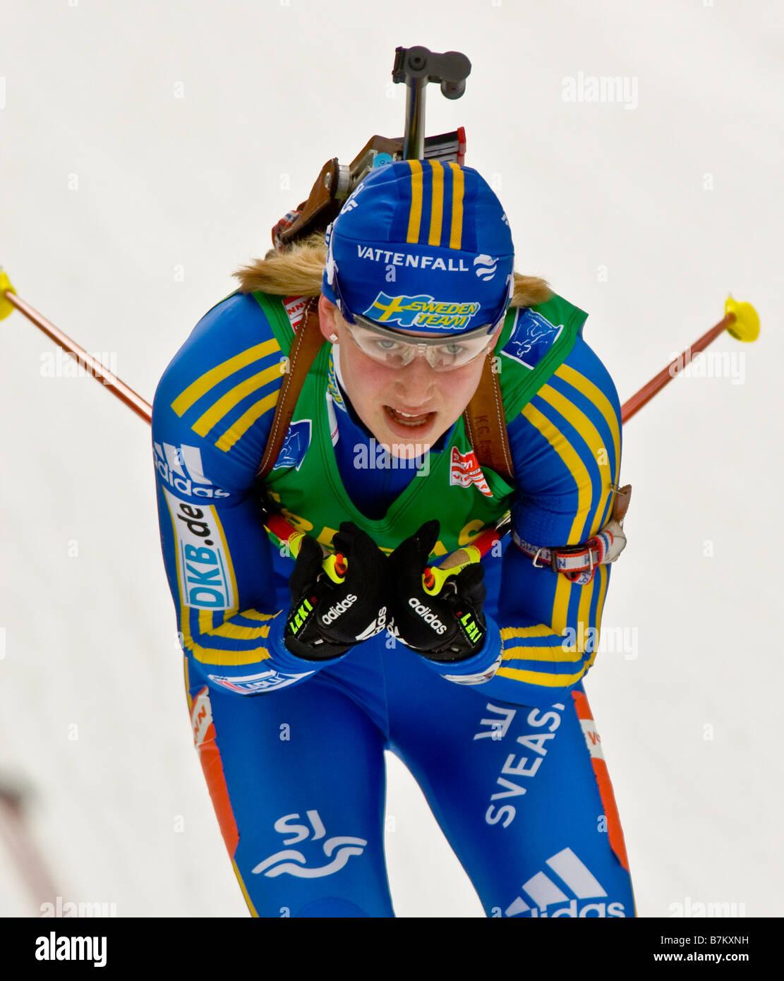 JONSSON Helena Schweden Biathlon Weltcup Verfolgung Frauen M nner Ruhpolding 18 1 2009 - Stock Image