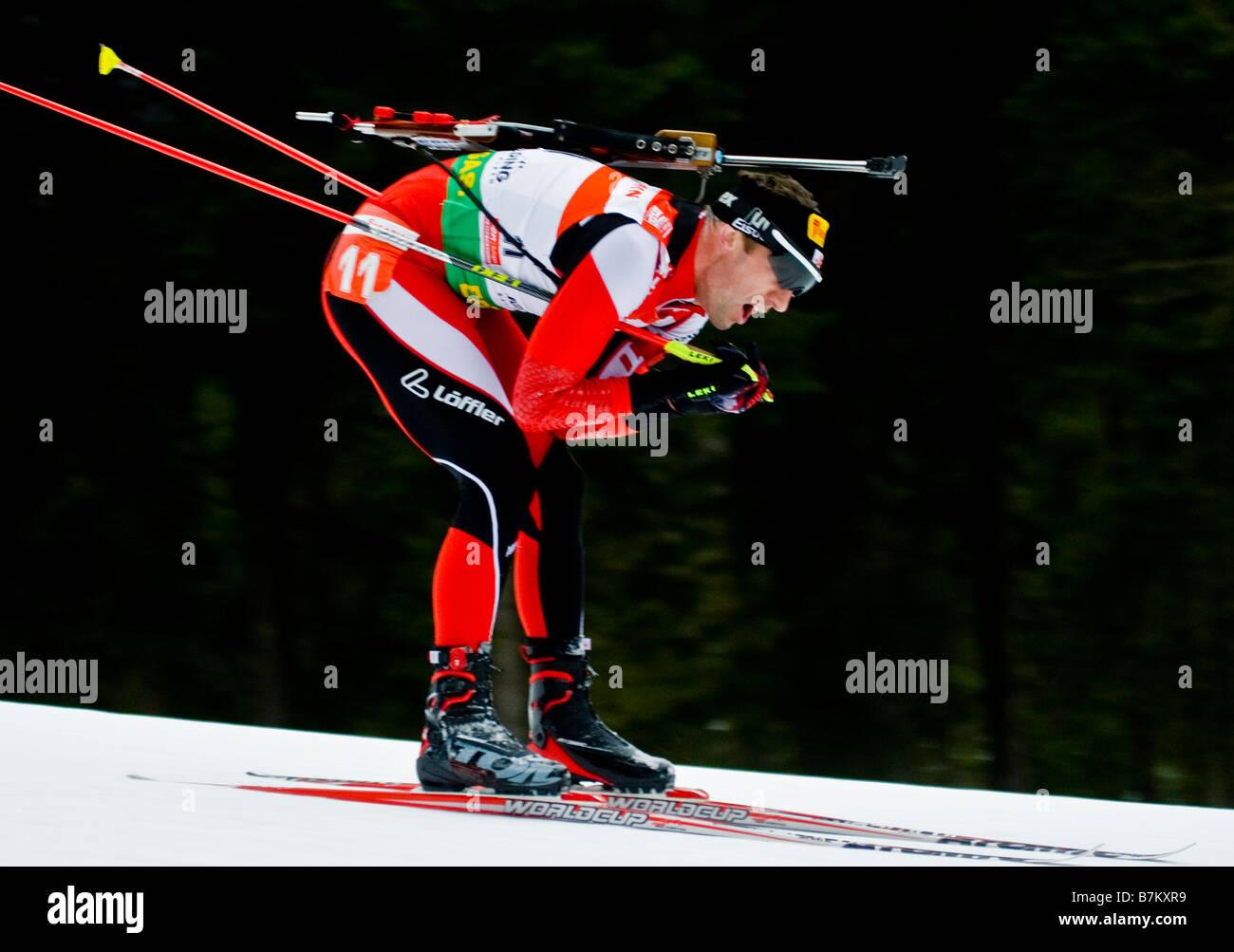 SUMANN Christoph Österreich Biathlon Weltcup Verfolgung Frauen Männer Ruhpolding 18 1 2009 - Stock Image