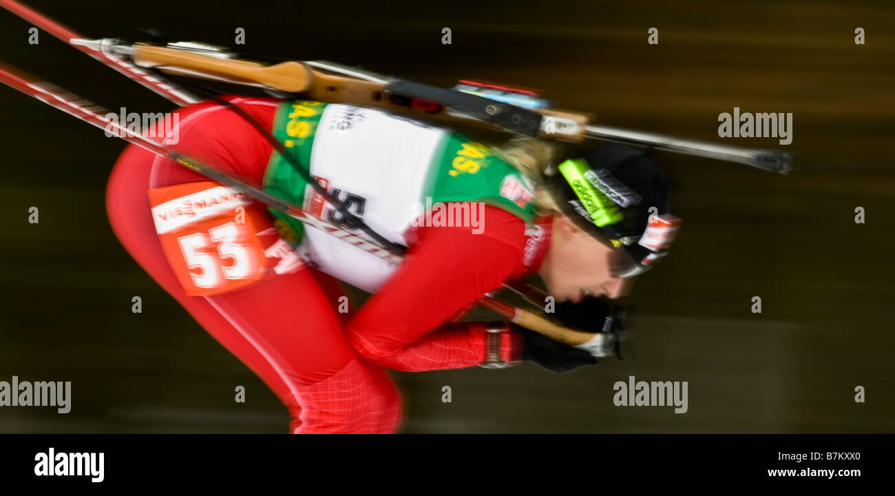 Biathlon Typical Biathlon Weltcup Verfolgung Frauen Männer Ruhpolding 18 1 2009 - Stock Image