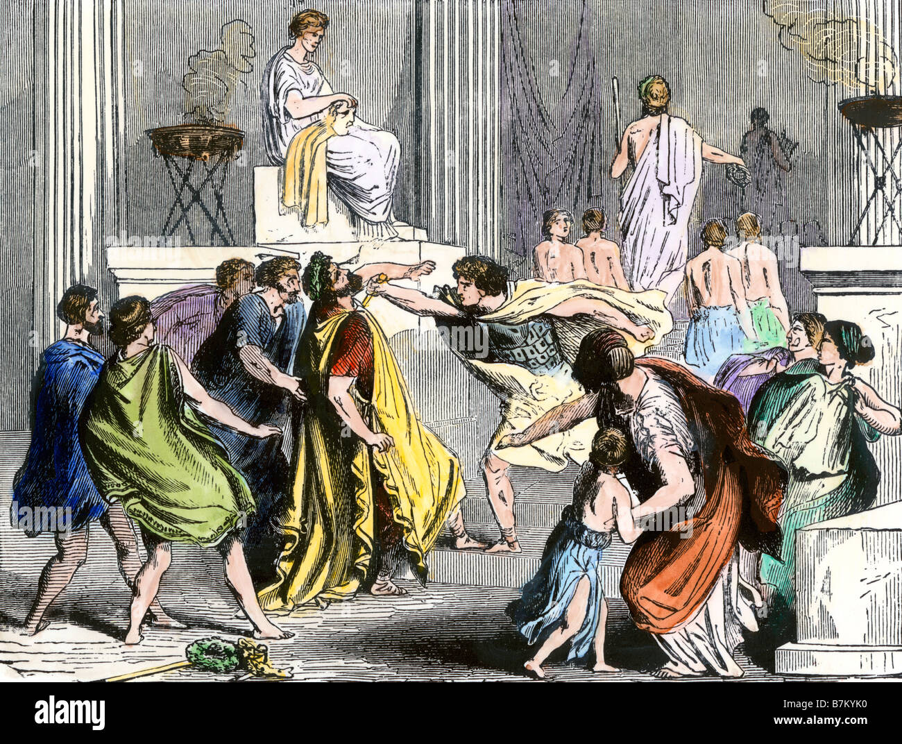 Assasination of King Philip of Macedon father of Alexander the Great 336 BC - Stock Image
