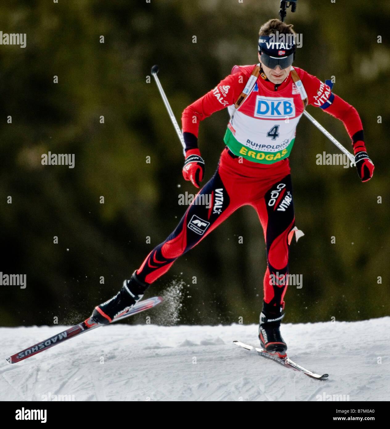BJOERNDALEN Ole Einar Norwegen Biathlon Weltcup Sprint Männer Ruhpolding 17 1 2009 - Stock Image