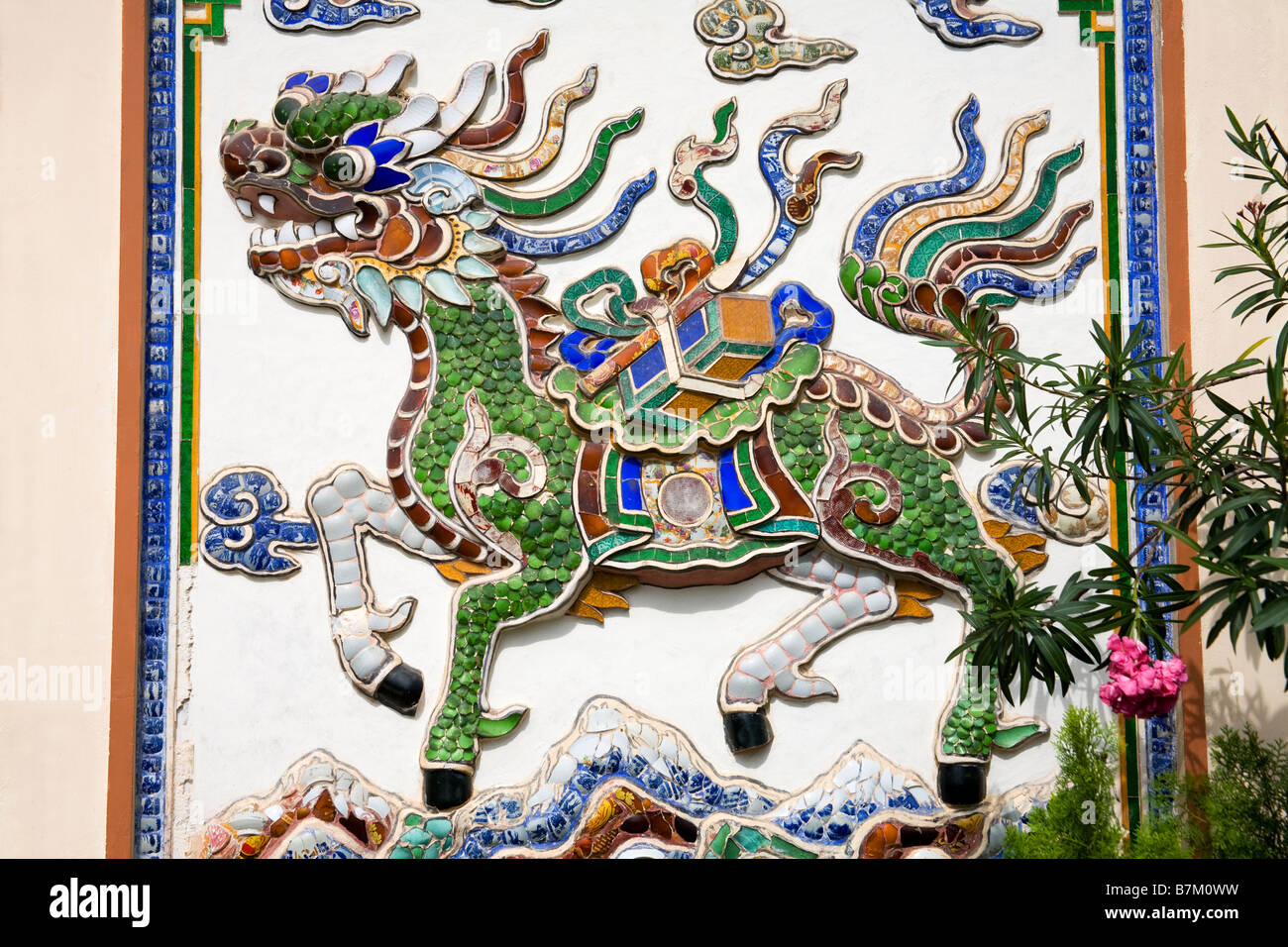 Tile Dragon at Long Son Pagoda Nha Trang City Vietnam Asia Stock Photo