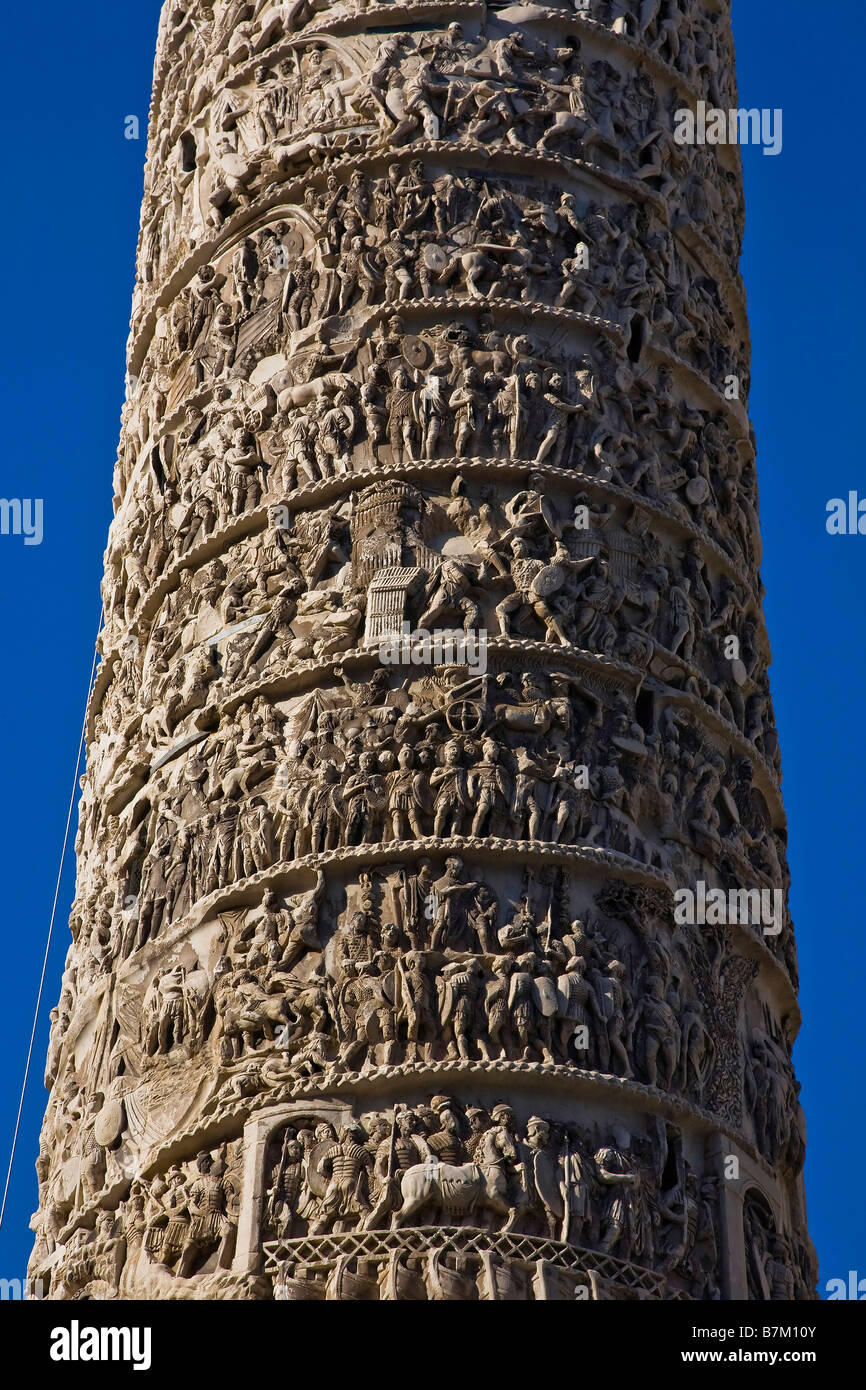 Column Marcus Aurelius Piazza Chigi Rome Italy - Stock Image