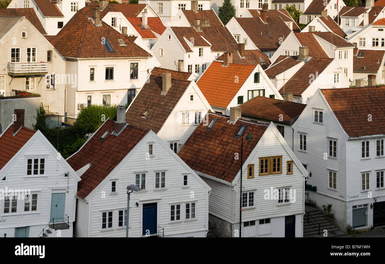 View of Old Stavanger (Gamle Stavanger), with 18th and 19th century wooden buildings. Stock Photo