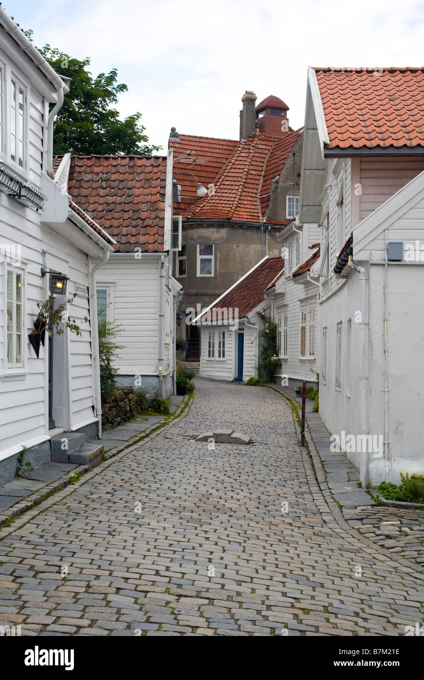 A street in Old Stavanger (Gamle Stavanger), with 18th and 19th century wooden buildings. Stock Photo