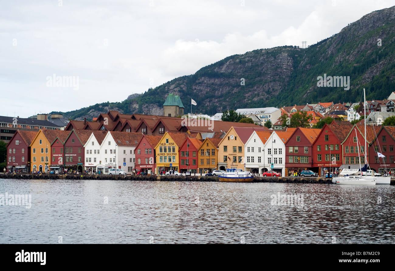 Bryggen, historic Hanseatic commercial buildings in Bergen, Norway, seen from across the bay of Vågen, Bergen, Norway Stock Photo