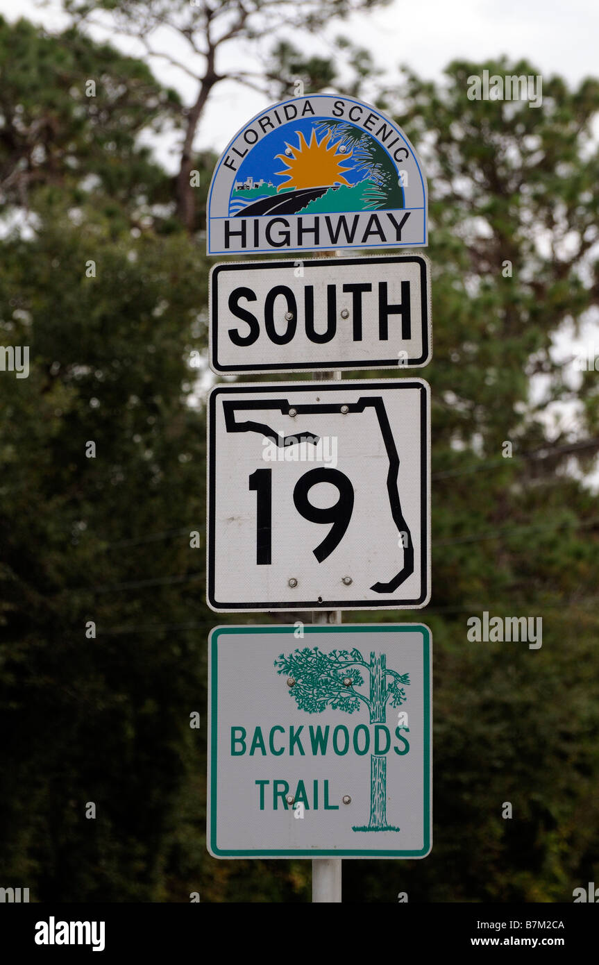 Coloured road sign for the Florida Scenic Highway southbound. USA  19  Tourist signs - Stock Image