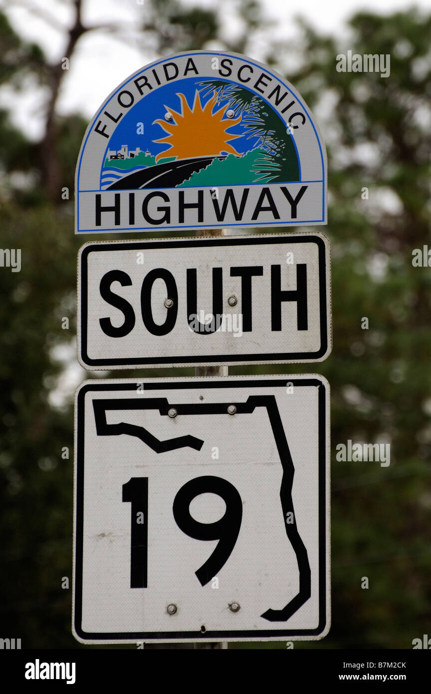 Coloured road sign for the Florida Scenic Highway southbound. USA  19 - Stock Image