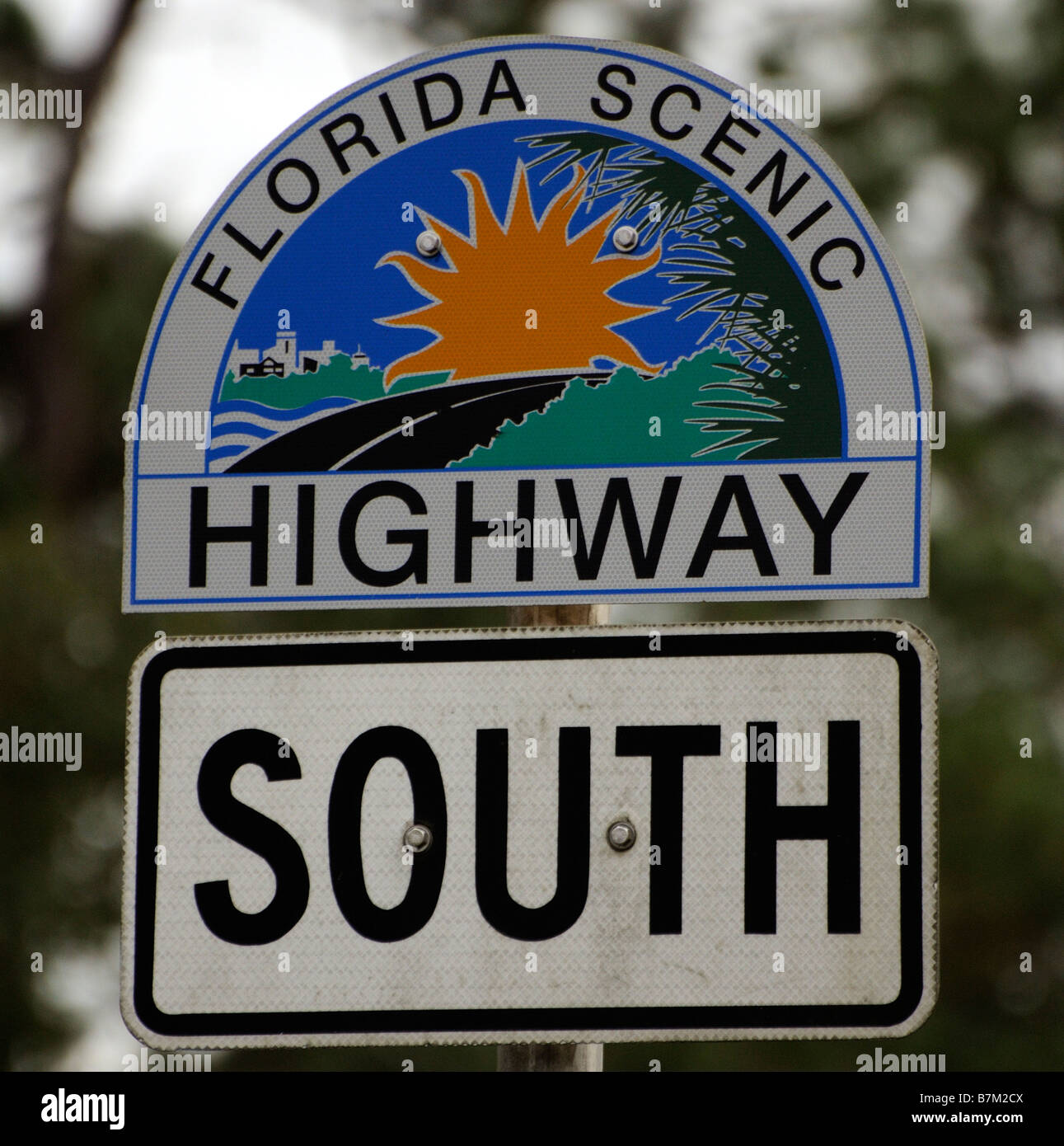 Coloured road sign for the Florida Scenic Highway southbound. USA - Stock Image