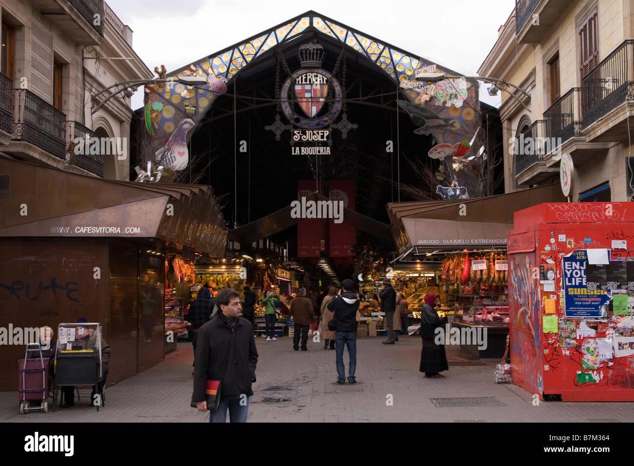 Entrance to La Boqueria market in Barcelona Spain - Stock Image