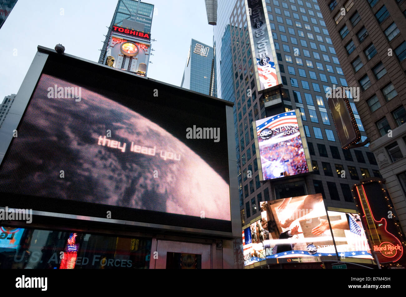 Army recruitment and election advertising in Times Square, New York, USA, November 2008 - Stock Image