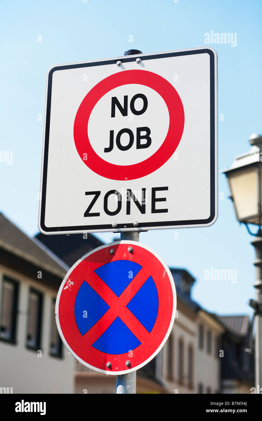 Concept sign at the start of a street - you are entering an area of high unemployment, poverty, deprivation - No - Stock Image