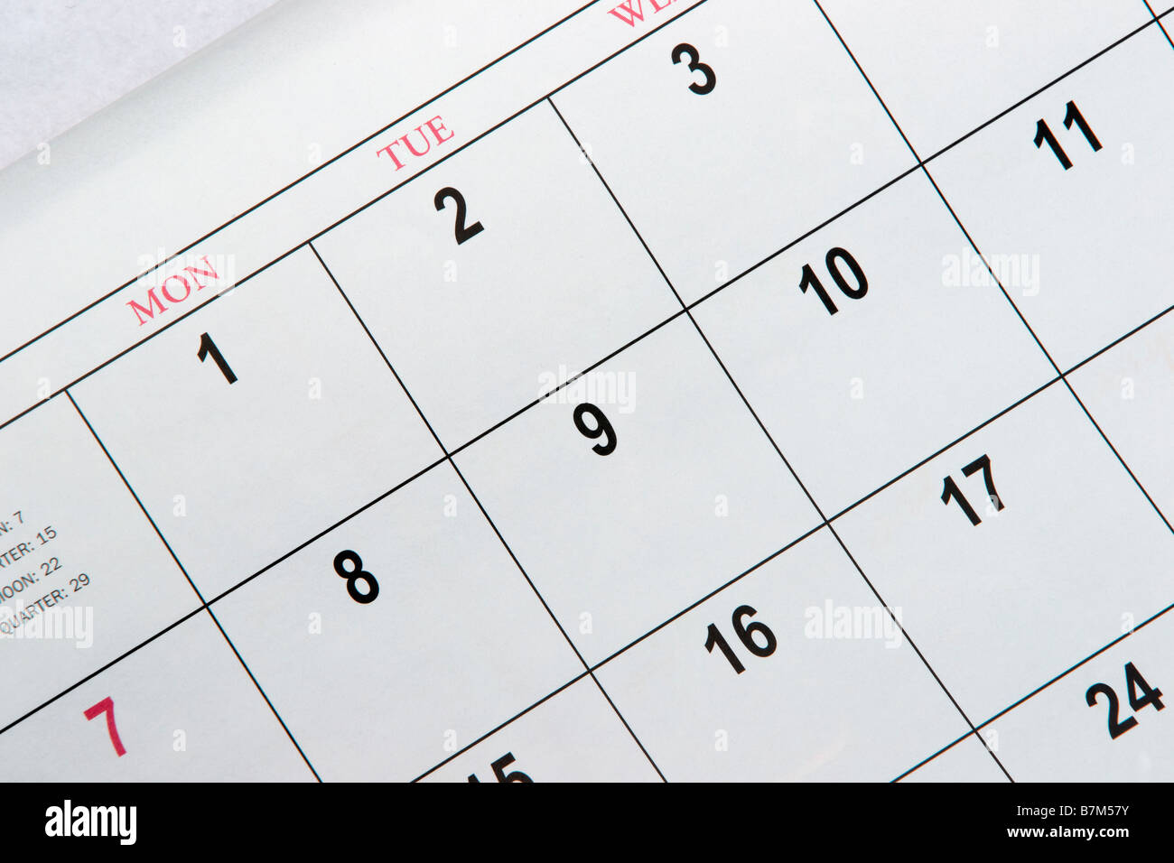 calendar close up - Stock Image