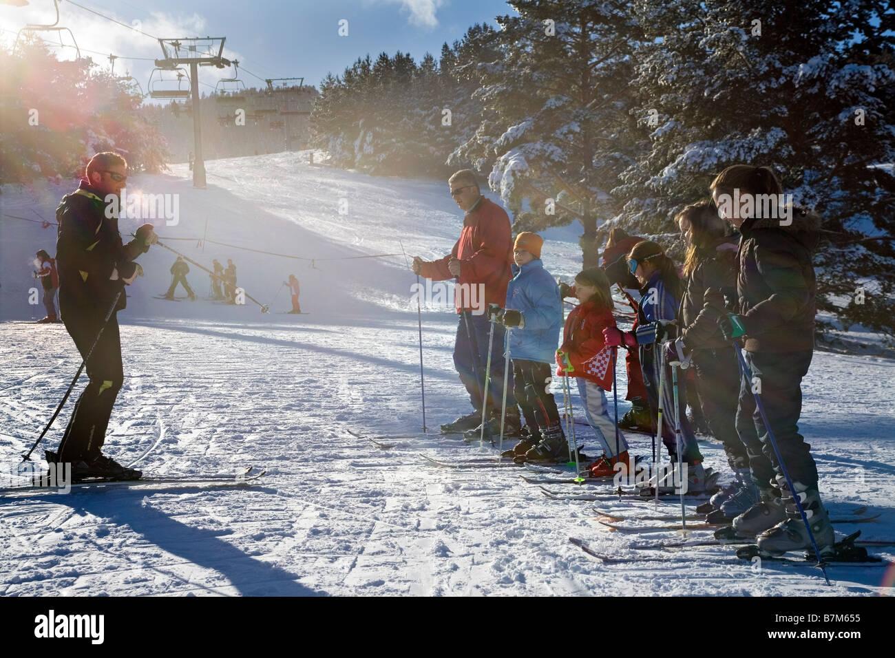 Bosnia and Herzegovina Kupres ski resort Ski instructor giving lesson - Stock Image