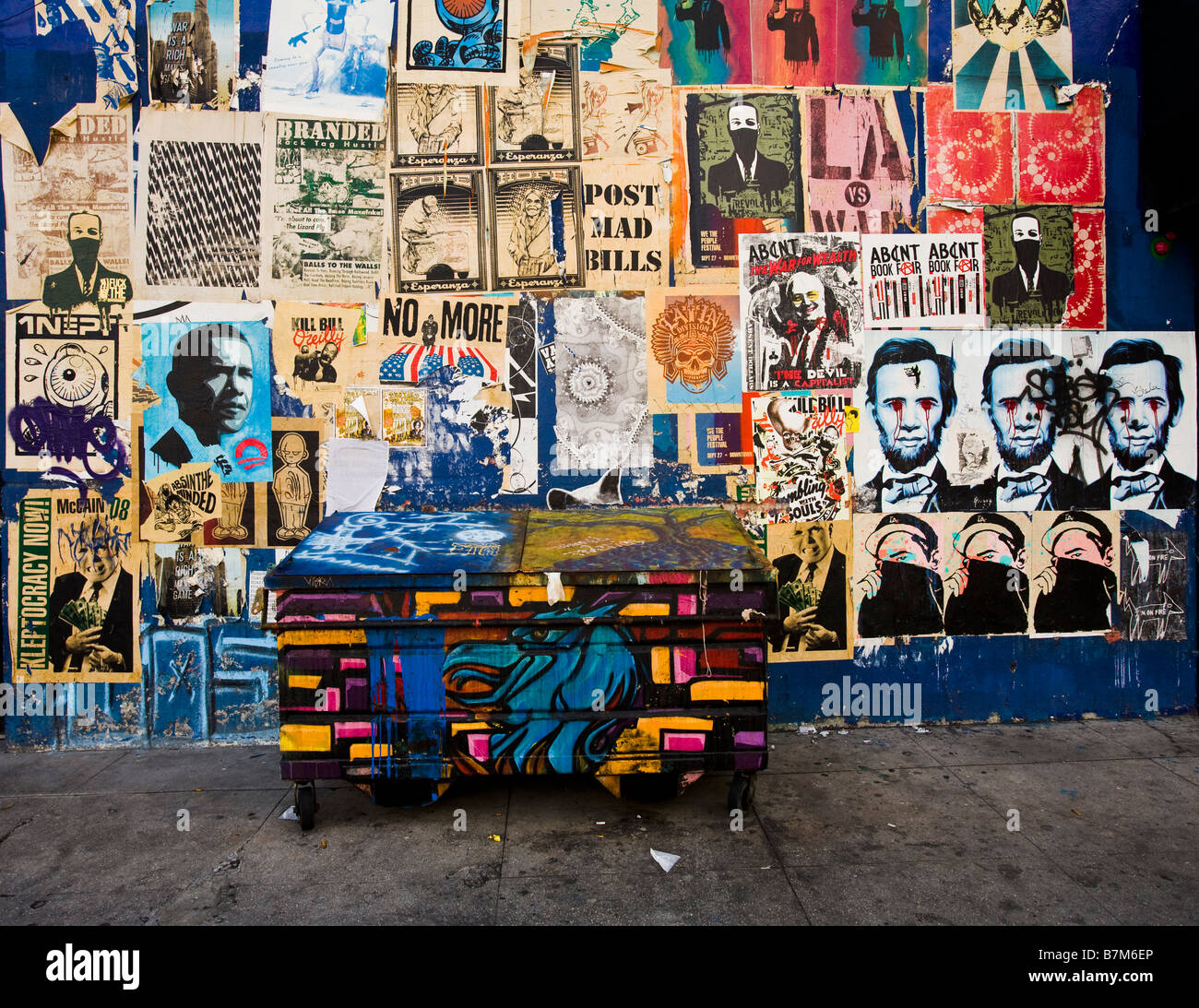 Obama posters on a wall in the Arts District Los Angeles County California United States of America - Stock Image