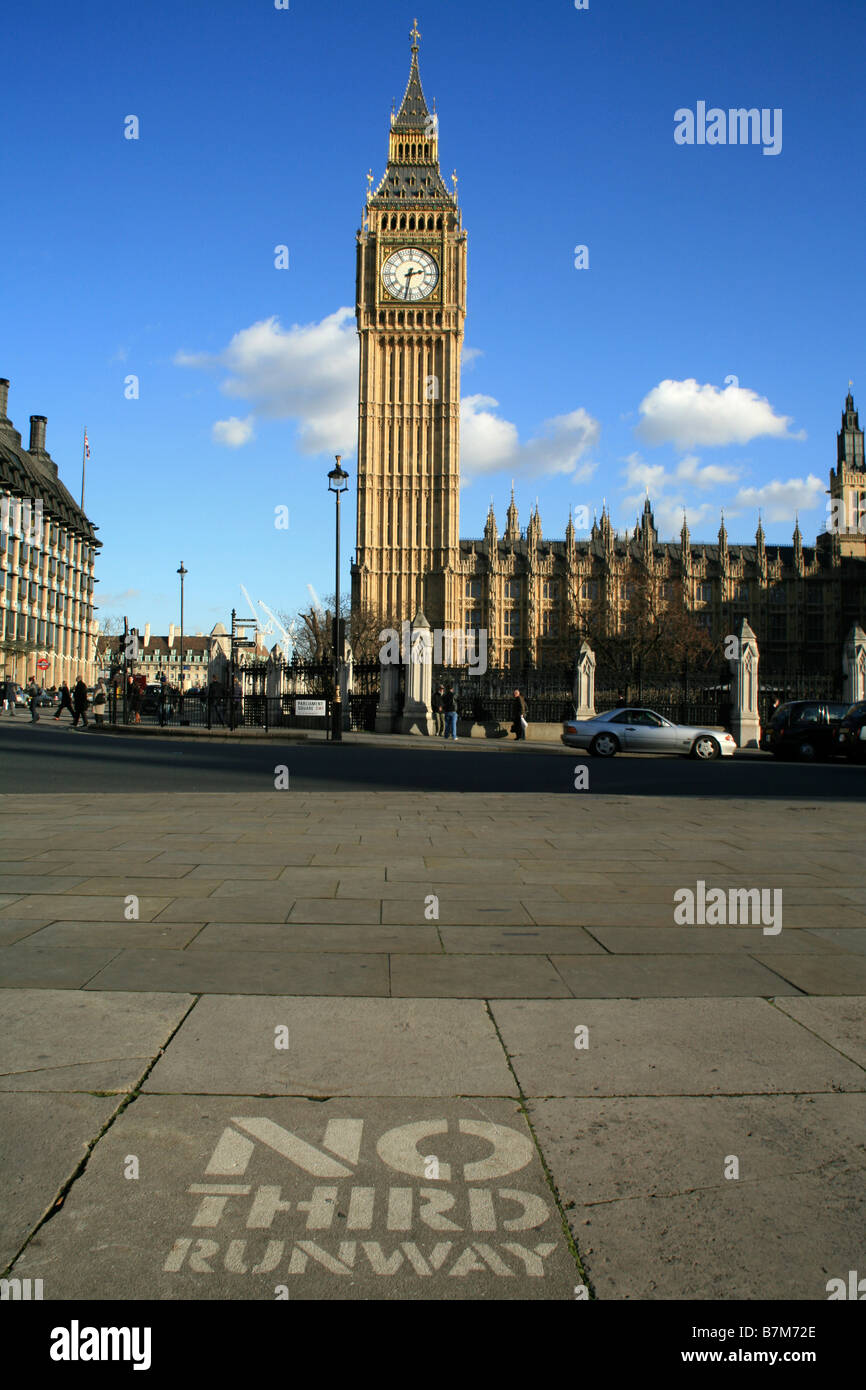 No Third Runway at Heathrow Airport protest outside the Houses of Parliament in Parliament Square, London - Stock Image