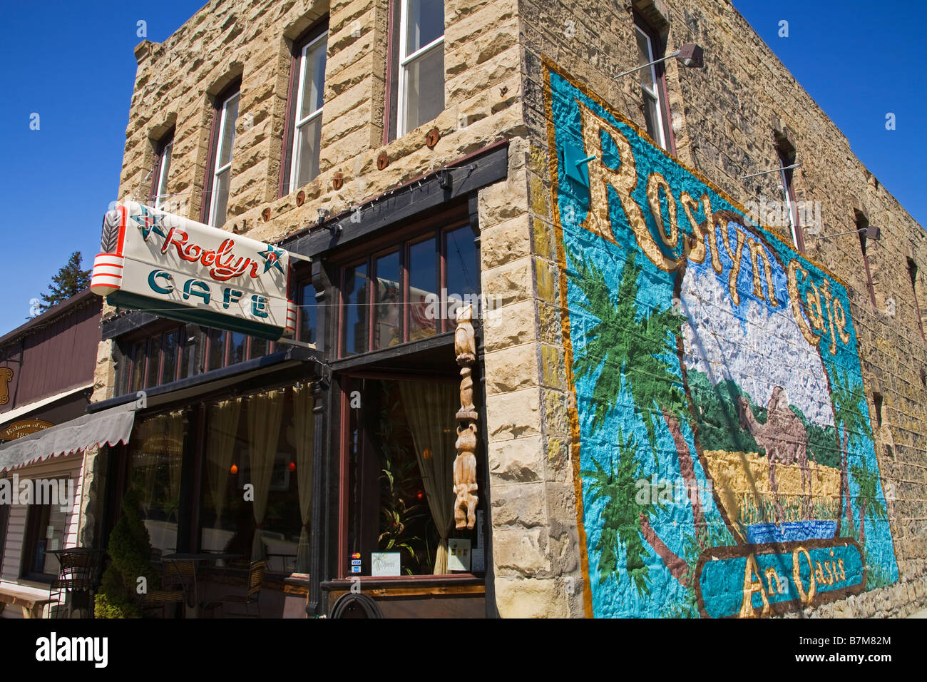 Roslyn Cafe Historic Roslyn Washington State USA - Stock Image