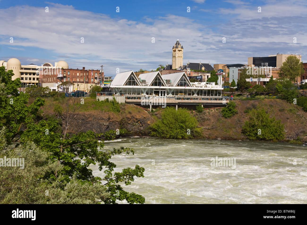 Spokane River in Major Flood Riverfront Park Spokane Washington State USA Stock Photo