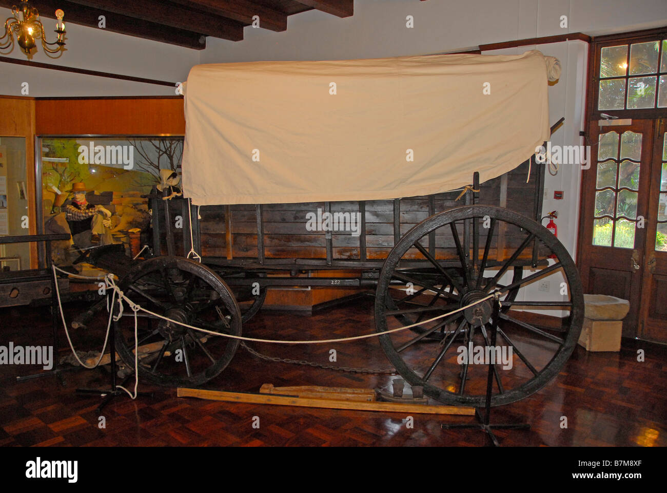 Historical ox wagon used during the Great Trek from the Cape Province of South Africa to the interior in 1836 - Stock Image