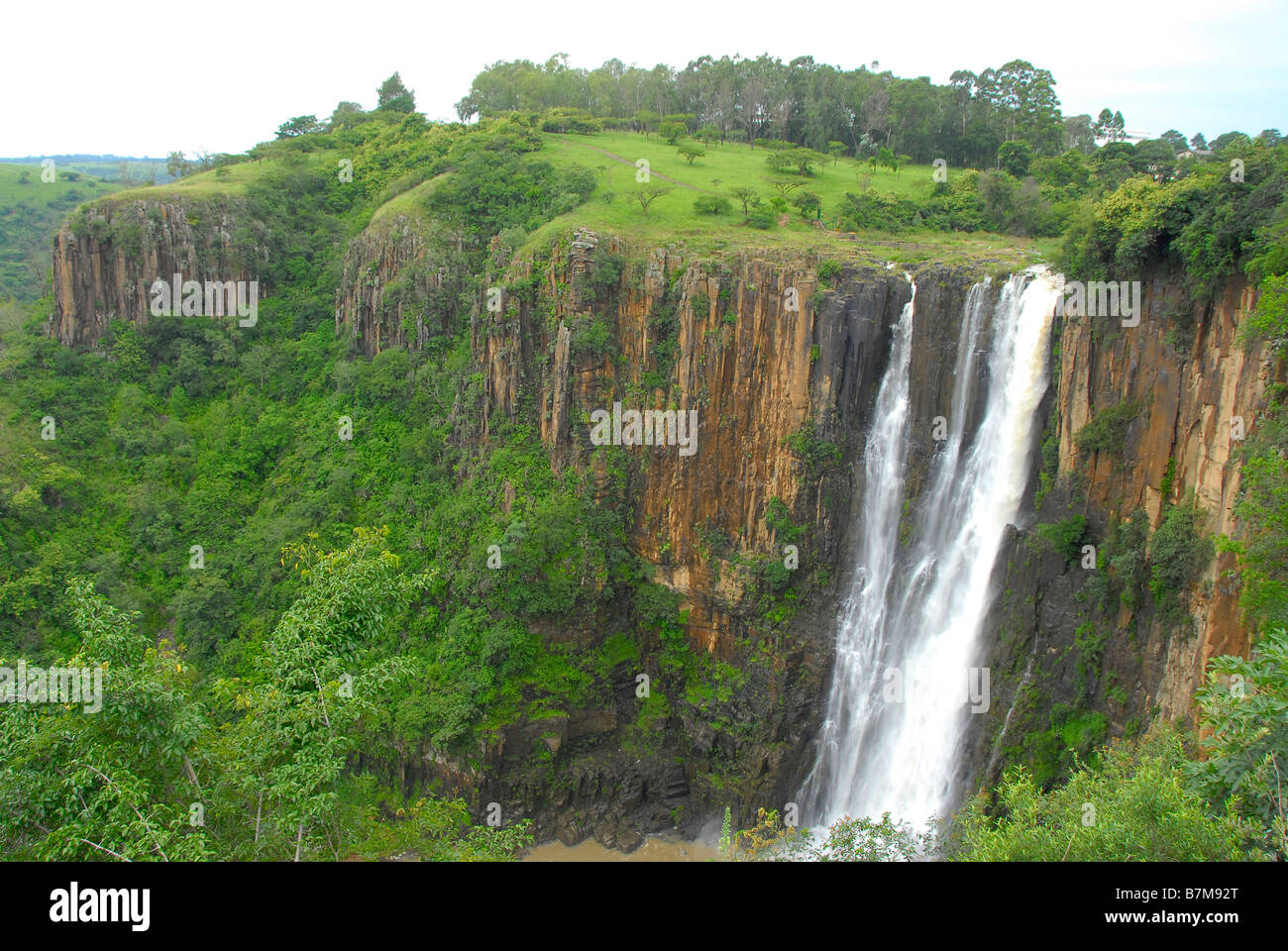 Horizontal shot of Howick Falls in the Natal Midlands, South Africa. Not far away from Durban, a sub-tropical area. Stock Photo