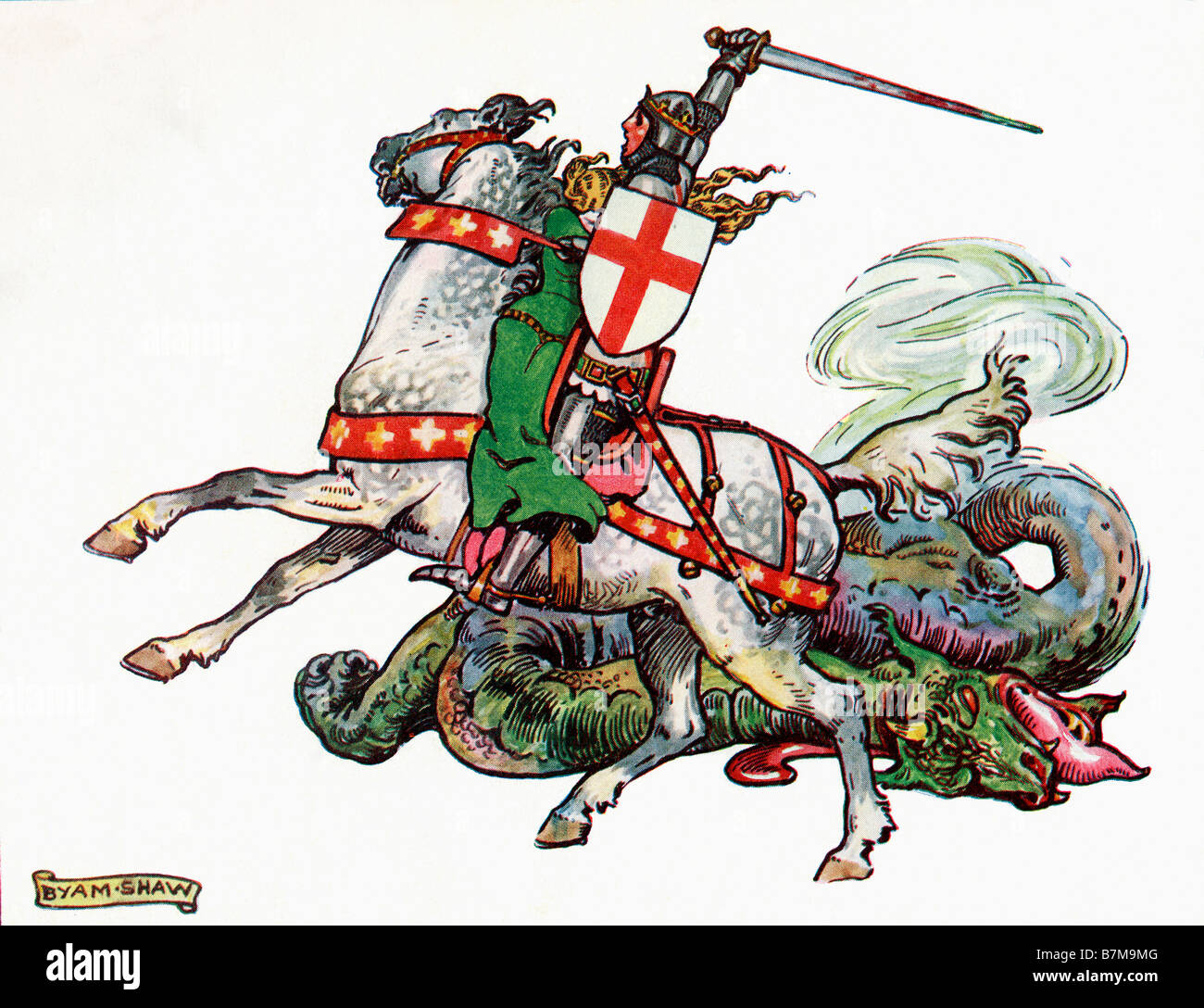 St George and the Dragon Illustration from the book Princess Marie José s Children s Book published 1916 - Stock Image
