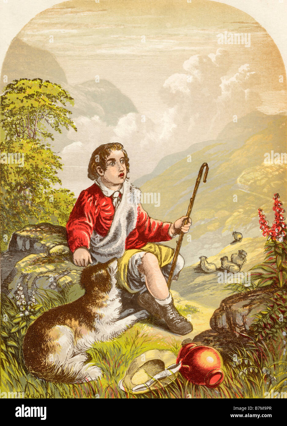 The Shepherd Boy in the Valley of Humiliation From the book The Pilgrims Progress - Stock Image