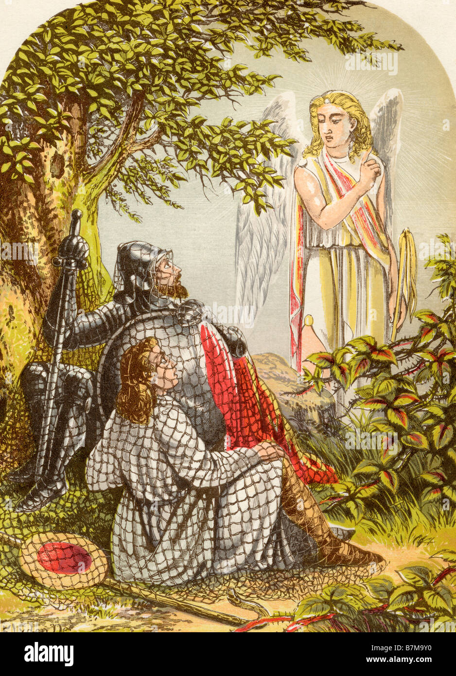 Christian and Hopeful Caught in the Net From the book The Pilgrims Progress - Stock Image